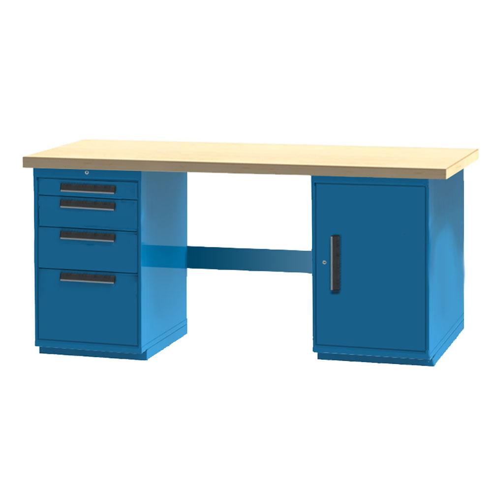 Industrial Workbench 4 Drawer 1 Door